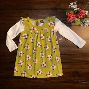 TEA COLLECTION DRESS CHARTREUSE GREEN FLORAL TUNIC